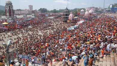 ganga dusshera: Hindu devotees take holy dip at the haridwar