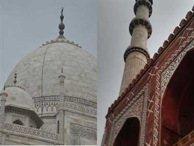 Lightening on Tajmahal and Sinkandra Minar