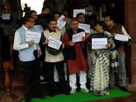 TMC protest over black money issue in Parliament premises