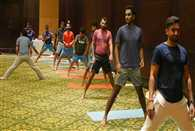 The Indian Cricket team took part in a yoga session