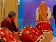 modi play drum in sacred heart university after fluit in elementry school