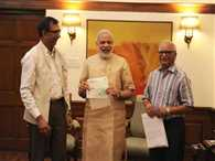 Dainik Jagran handed cheque of One crore and fifty seven lacs to Prime Minister