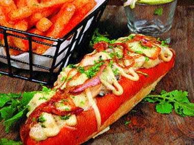Mushroom and Cheese Hot Dog
