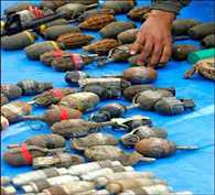 Police recovers huge cache of crude bombs from TMC party office in Birbhum.