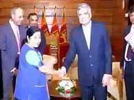 EAM Sushma Swaraj arrives in Colombo