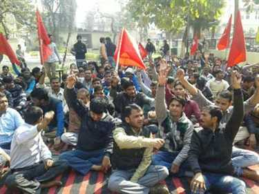 Protest For Demand of Restoration of workers