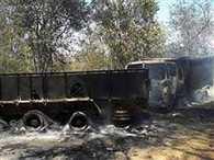 Naxals burn seven vehicles of three cr