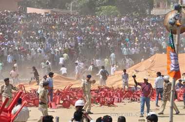 Stampade in Ajay Devgans rally hundreds injured