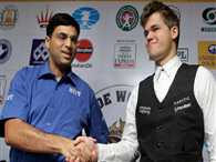 Anand stops Carlsen on a draw, points level