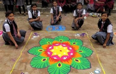 Rangoli competition held on Saraswati Puja