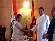 Sri Lankan President Maithripala Sirisena meets Sushma Swaraj