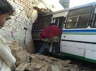bus truck collapse, bus enter in shop