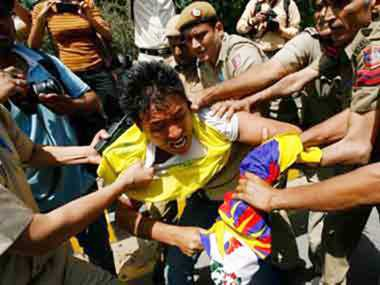 Tibetans stage protest outside Taj Palace