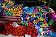 Festival of Lanterns, merchandising market bristles with