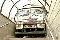 A speeding truck got stuck in entrance of a subway in Delhi Nauroji Nagar