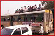 passengers travel on bus roof