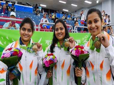 Indian women shooting team win bronze in 25 meter air pistol event