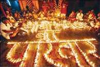Diwali lamp lit in memory of ancestors and Money