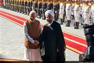 PM Narendra Modi and Iran's President Hassan Rouhani hold a restricted meeting