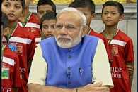 PM Narendra Modi interacts with students at Reliance Foundation Youth Sports event
