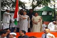 Sonia Gandhi and Rahul Gandhi flag off three day Bus Yatra 27 Saal UP Behaal