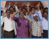 हड़ताली शिक्षकों ने किया बीआरसी पर प्रदर्शन