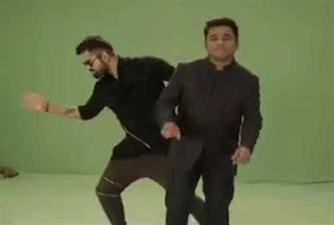 Virat Kohli performs on AR Rahman's tune