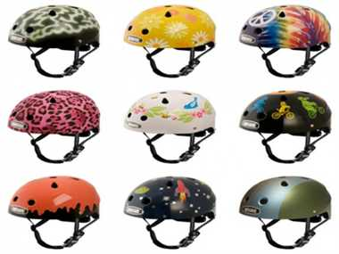 Different prints and styles of helmets