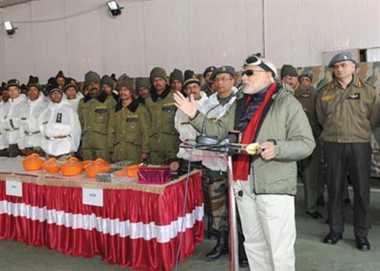 Modi celebrates Diwali with jawans at Siachen