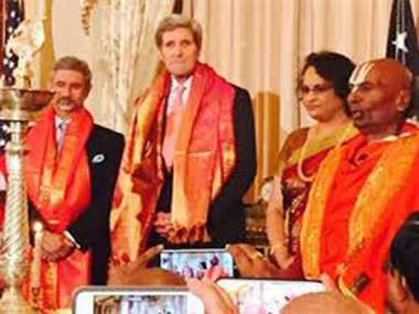 Kerry lits diya to celebrate first ever Diwali at State Dept