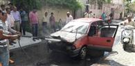 चलती कार में आग, चार युवक झुलसने से बचे