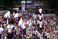 Celebrations underway in Thane Govindas make a 40  ft pyramid attempting to break Dahi Handi