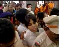 Trupti Desai and Bhu Mata Brigade activists enter Kapaleshwar Temple in Nasik