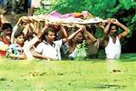 Locals forced to take out last rites procession through a pond after goons block route in MPs Jabalpur