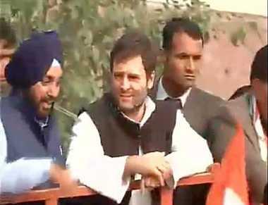 delhi election: rahul gandhi road show in delhi