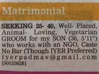 Mumbai, Mothers matrimonial advertisement seeking groom for son elicits keen response