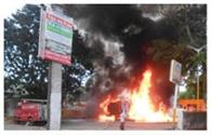 टैंकर में लगी आग से पेट्रोल पंप खाक