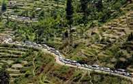 Uttarkashi to kedarnath road jam cause of heavy rain