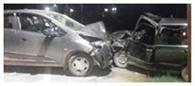 पांवटा साहिब में कारों की टक्कर, दो घायल