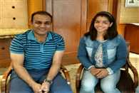 Great meeting with SakshiMalik She did not wrestle and so I comfortably says sehwag