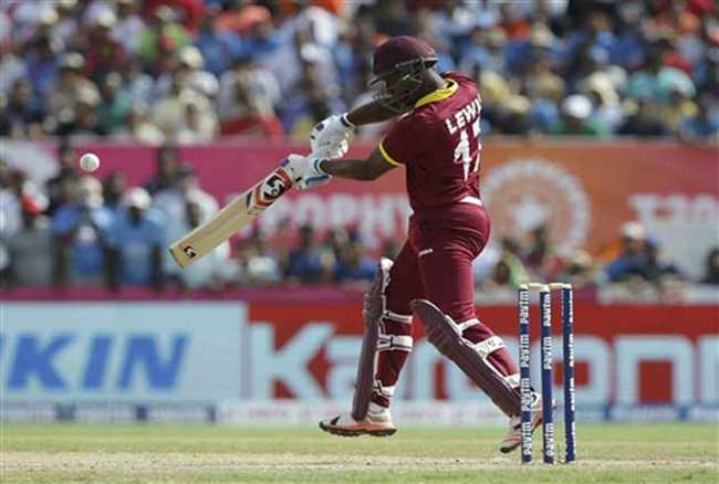 Evin Lewis scores first international T20 ton for West Indies