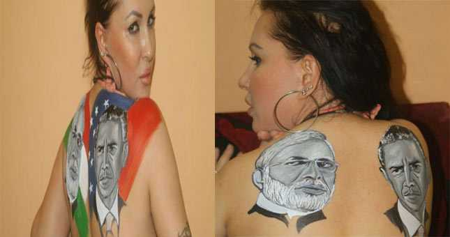Ukraine actress Nataliya Kozhenova gets Obama-Modi tattoo on her back
