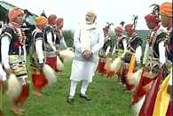PM Narendra Modi arrives in Mawphlang village and takes part in the cultural dance in Meghalaya