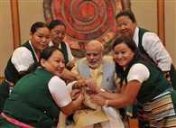 Rajnath Singh celebrates Raksha Bandhan with children at his residence in Delhi.
