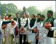 Delhi: TMC protest against proposed changes in MNREGA Scheme outside Parliament