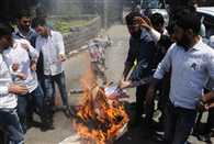 students protest against smriti irani