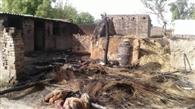 आग से फूस का मकान राख