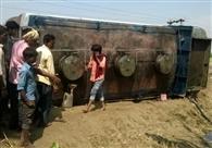 Methvlia tanker overturned near, accident averted