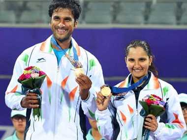 Sania Mirza, Saketh Myneni of India win gold in the mixed doubles