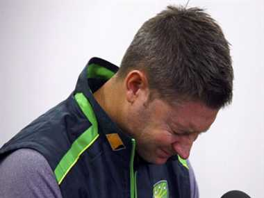 Michael Clarke breaks down while reading message